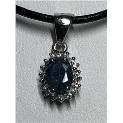 STERLING SILVER SAPPHIRE PENDANT AND RING SET