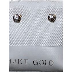 14KT GOLD WHITE SAPPHIRE(0.15CT) EARRINGS