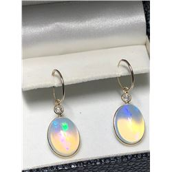 14KT YELLOW GOLD OPAL(APPROX 14.90CT) AND DIAMOND(0.38CT) EARRINGS