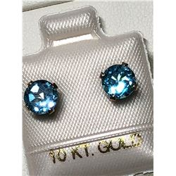 10KT GOLD BLUE TOPAZ EARRINGS