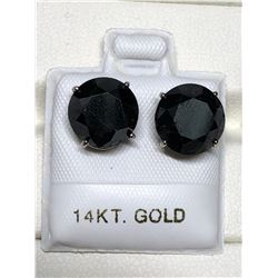 14KT GOLD 2 BLACK DIAMOND(8.14CT) EARRINGS(2.3G).