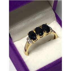 STERLING SILVER GOLD PLATED SAPPHIRE RING