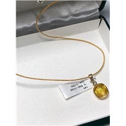 14KT YELLOW SAPPHIRE(5.30CT) AND DIAMOND(0.03CT) PENDANT(1.8G) WITH STERLING SILVER CHAIN