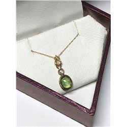 14KT YELLOW GOLD GREEN SAPPHIRE(1CT) AND DIAMOND(0.10CT) PENDANT NECKLACE