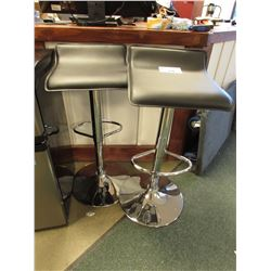 2 BLACK & STAINLESS STEEL BAR STOOLS