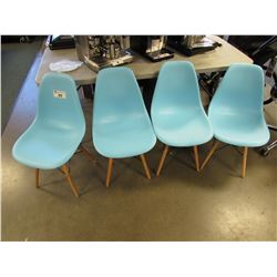 4 BLUE PLASTIC & WOODEN CHAIRS