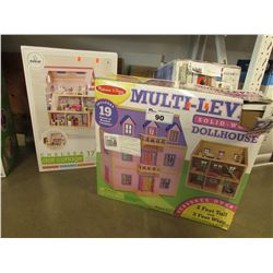 MELISSA & DOUGS MULTI-LEVEL SOLID WOOD DOLLHOUSE, CHELSEA DOLL COTTAGE