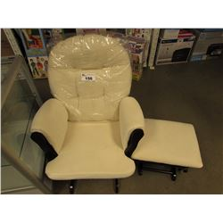 BEIGE CLOTH RECLINING ROCKING CHAIR