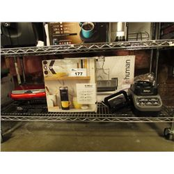 GEORGE FOREMAN EVOLVE GRILL SYSTEM, KEURIG K-MINI COFFEE MAKER, NINJA BLENDER ACCESSORIES,