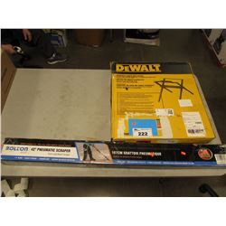 "DEWALT COMPACT TABLE SAW STAND & BOLTON 42"" PNEUMATIC SCRAPER"
