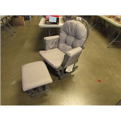 GREY ROCKING CHAIR WITH FOOT STOOL