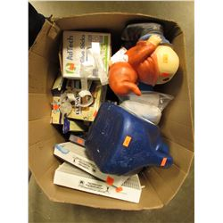 BOX OF ASSORTED FOOD PRODUCTS, HOUSEHOLD DECOR, FILTERS, ETC