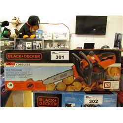 "BLACK & DECKER 20V CORDLESS 10"" CHAINSAW"