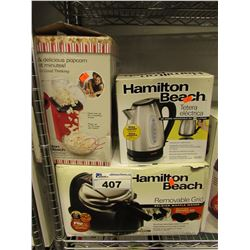 HAMILTON BEACH POP CORN MAKER, HAMILTON BEACH ELECTRIC KETTLE, HAMILTON BEACH REMOVABLE GRILL