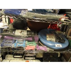 SHELF LOT OF ASSORTED EXERCISE EQUIPMENT