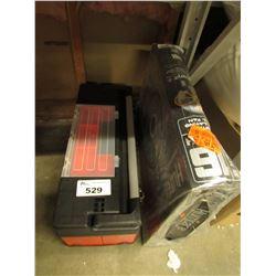 """RED & BLACK PLASTIC TOOL BOX & 16"""" FAN"""