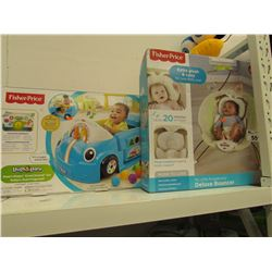 FISHER PRICE LAUGH & LEARN FUN STAGES, FISHER PRICE MY LITTLE SNUGABUNNY DELUXE BOUNCER