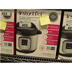 INSTANT POT 7-IN-1 MULTI USE 8 QUART PROGRAMMABLE PRESSURE COOKER (MISSING PRESSURE RELEASE BUTTON)