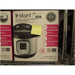 INSTANT POT 7-IN-1 MULTI USE 8 QUART PROGRAMMABLE PRESSURE COOKER (MISSING PRESSURE RELEASE BUTTON