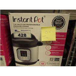 INSTANT POT 6-IN-1 MULTI USE 6 QUART PRESSURE COOKER (MISSING PRESSURE RELEASE BUTTON)