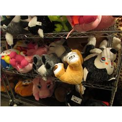 SHELF LOT OF 5 ASSORTED PLUSH STUFFIES