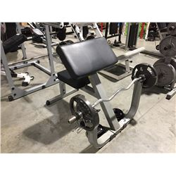 ALOYD FITNESS PREACHER CURL BENCH WITH CURLING BAR & 75LBS. WEIGHTS
