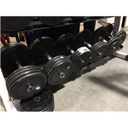 3 SETS OF DUMB BELLS - 80LB/60LB/50LB & 40LBS. LOOSE WEIGHTS