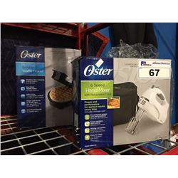 2 OSTER SMALL APPLIANCES - HAND MIXER & WAFFLE IRON