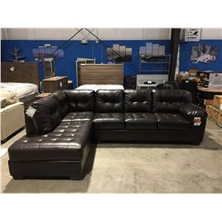 2PCS CHOCOLATE BROWN LEATHER UPHOLSTERED SECTIONAL SOFA