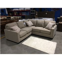 2PCS LIGHT BEIGE UPHOLSTERED SECTIONAL SOFA WITH 3 THROW CUSHIONS