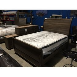 QUEEN SIZED  BEDROOM SUITE, HEADBOARD, FOOTBOARD, RAILS/ 6 DRAWER DRESSER WITH MIRROR & 2 DRAWER