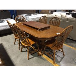 DOUBLE PEDESTAL OAK CLAW FOOT DINING TABLE WITH 2 LEAFS & 6 CHAIRS