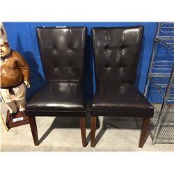 PAIR OF BROWN LEATHER SIDE CHAIRS