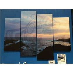 "4 PANEL ART PRINT ON CANVAS ""UCLUELET SUNSET WHALE"" FIRST NATIONS MOTIF WALL ART  APPROX 45""X34"""