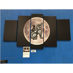 "5 PANEL ART PRINT ON CANVAS ""MOON WOLF"" FIRST NATIONS MOTIF WALL ART APPROX 56""X30"""