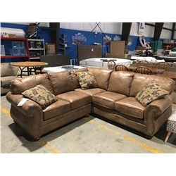 2PCS. BROWN MICROFIBER UPHOLSTERED SECTIONAL SOFA WITH 3 THROW CUSHIONS