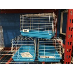 GROUP OF 3 SMALL WHITE & BLUE BIRD CAGES