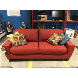 CONTEMPORARY SUNSET RED UPHOLSTERED SOFA WITH 4 THROW CUSHIONS