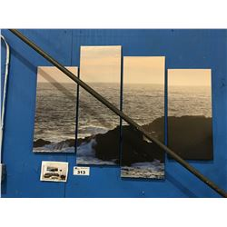 "4 PANEL ART PRINT ON CANVAS ""OCEAN SHORE"" WALL HANGING APPROX 45""X34"""