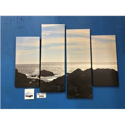 "4 PANEL ART PRINT ON CANVAS ""ROCKY SHORELINE"" WALL HANGING APPROX 45""X34"""