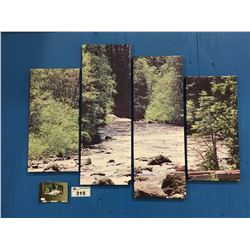 "4 PANEL ART PRINT ON CANVAS ""FOREST STREAM"" WALL HANGING APPROX 45""X34"""