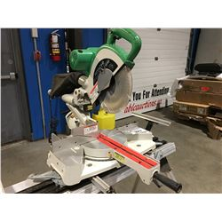 HITACHI SLIDING COMPOUND MITRE SAW WITH STAND (NOT WORKING NEW BUSHING MAY BE REQUIRED)