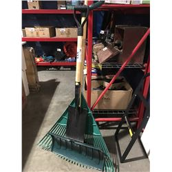 3 YARD TOOLS RAKE/SQUARE HEAD SHOVEL/ DUAL GRIP PUSHER SHOVEL
