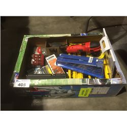 BOX FULL OF ASSORTED TOOLS, HARDWARE & MISCELLANEOUS