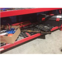 BLACK TOOL BOX & CONTENTS, ASSORTED PARTIAL WRENCH & SOCKET SETS, & OTHER SMALL TOOLS & HARDWARE