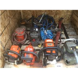 PALLET LOT OF ASSORTED CHAINSAWS, COMPRESSORS & MISCELLANEOUS JACK STANDS (SOME WORK SOME FOR PARTS
