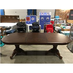 DOUBLE PEDESTAL CLAW FOOT  DINING TABLE WITH LEATHER INLAY TOP WITH 1 EXTENSION LEAF