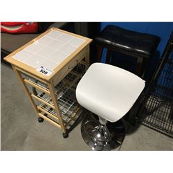 SMALL TILE TOP ROLLING KITCHEN CHART & 2 BAR STOOLS