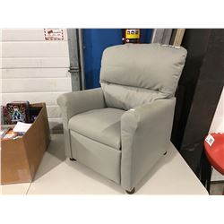 SMALL GREY UPHOLSTERED CHILDS RECLINER
