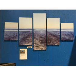 """5 PANEL ART PRINT ON CANVAS """"SHIPS WAKE"""" WALL HANGING  APPROX 56""""X30"""""""